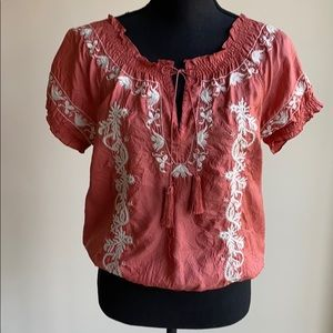 Joie silk boho-chic rust colored top